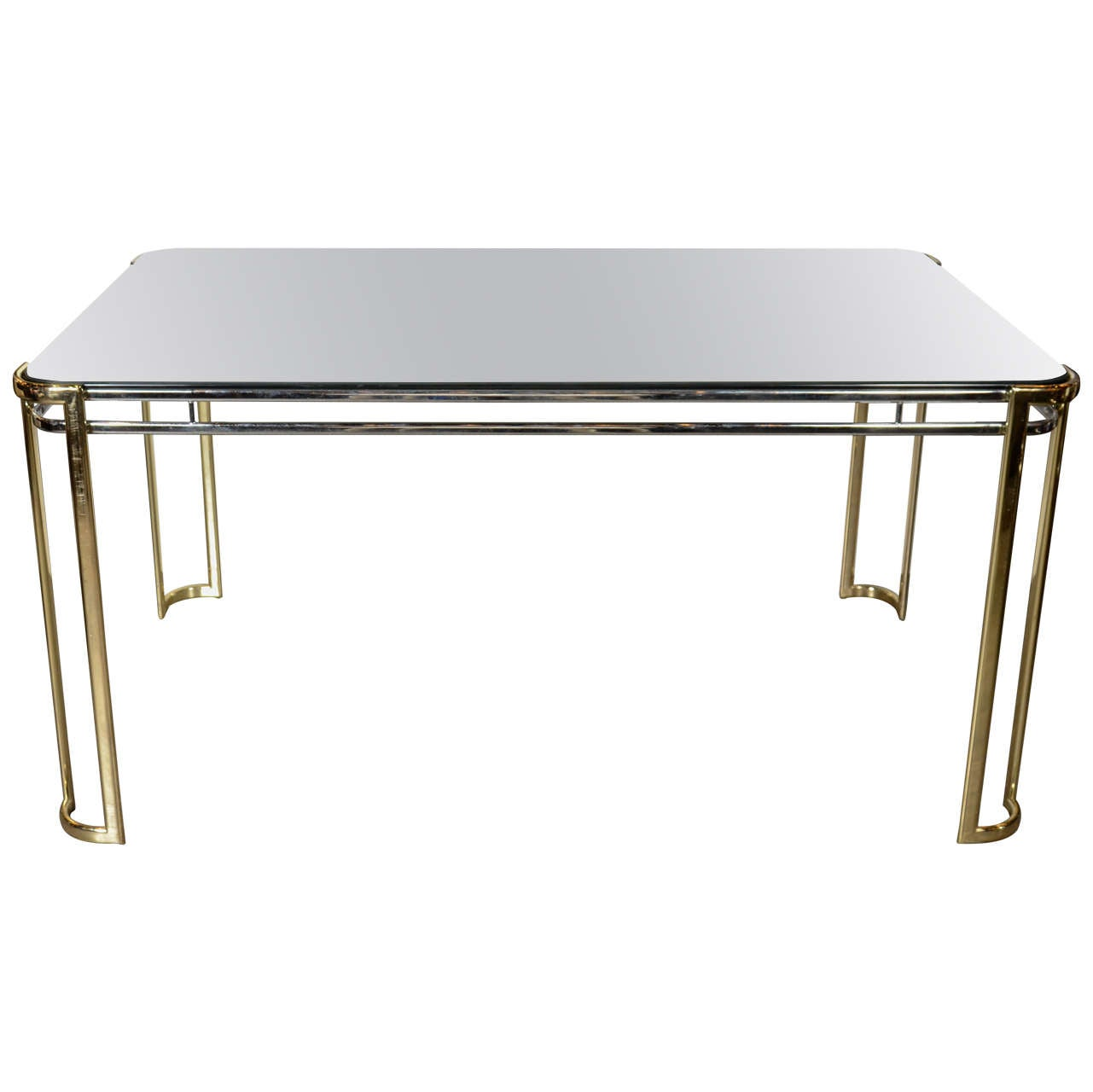 Modernist Mid-Century Polished Brass and Chrome Mirrored Dining Table 1