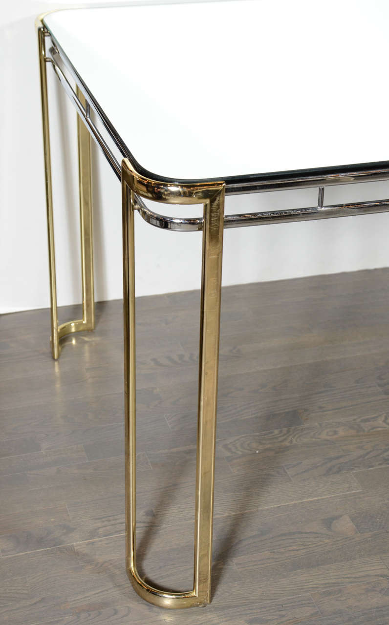 Modernist Mid-Century Polished Brass and Chrome Mirrored Dining Table 3