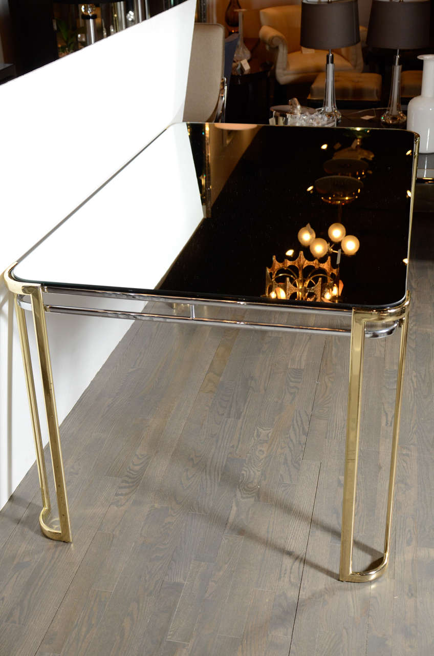 Modernist Mid-Century Polished Brass and Chrome Mirrored Dining Table 5