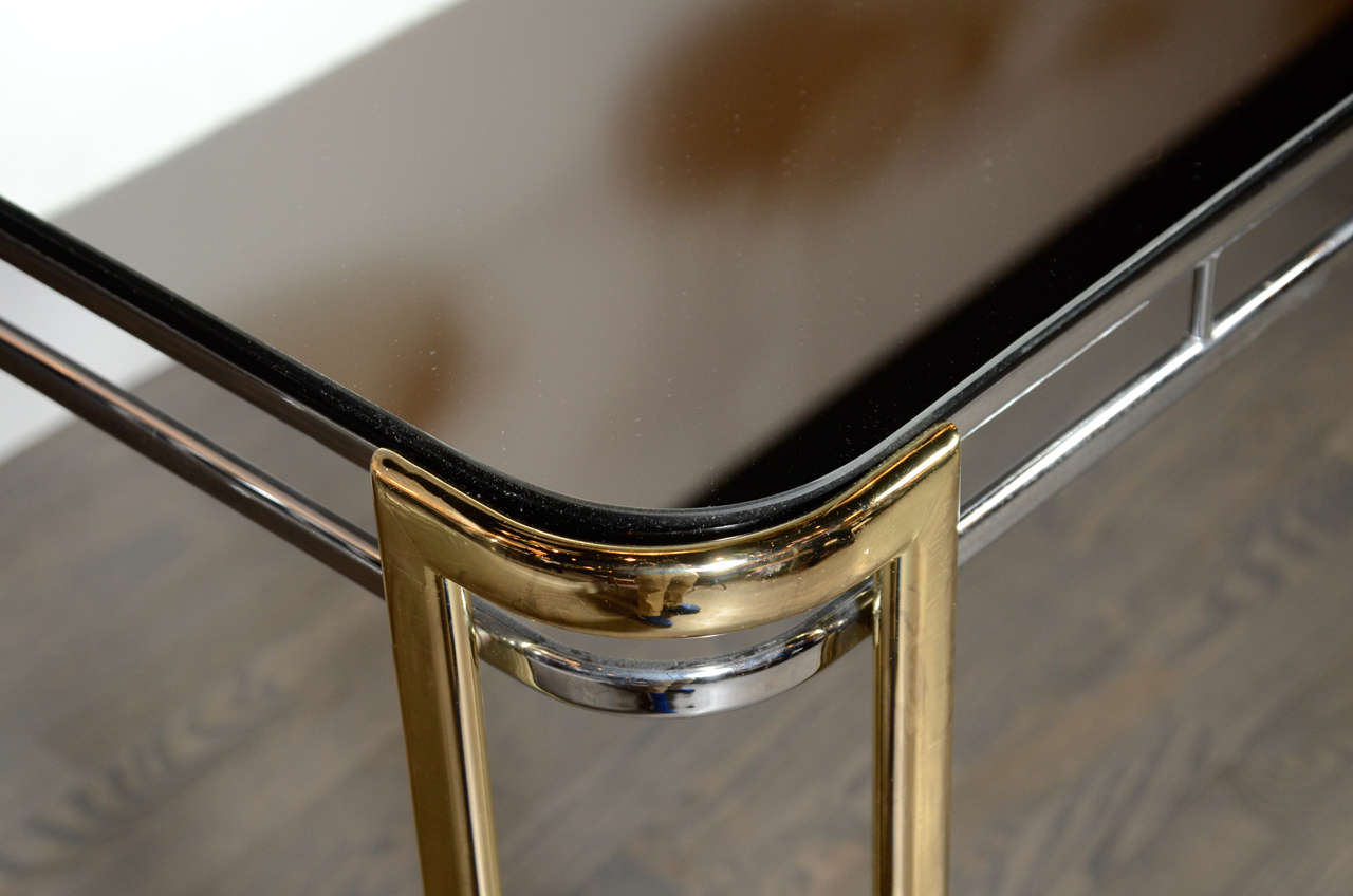 Modernist Mid-Century Polished Brass and Chrome Mirrored Dining Table 6