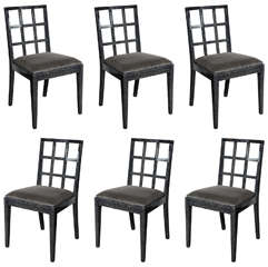 Set of Modernist Silver Cerused Oak Dining Chairs by Eugene Schoen