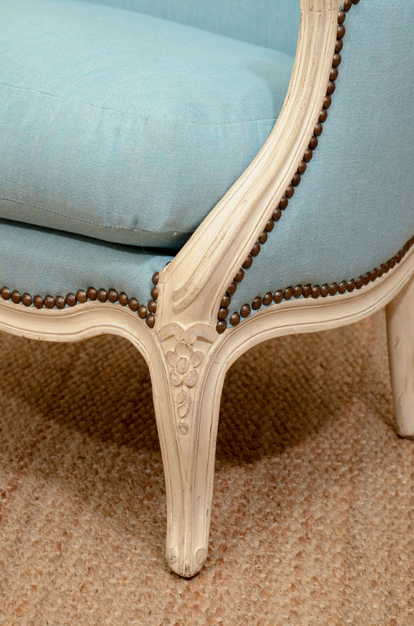 Mid-20th Century Pair of Small French Louis XV Style Bergeres For Sale