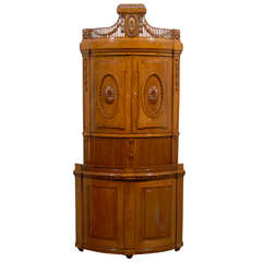 Russian Empire Oak 19th Century Convex Corner Cabinet with Carved Pediment