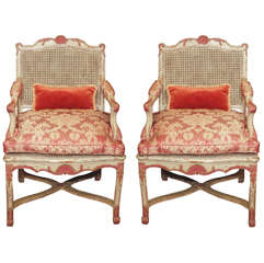 French Regence Painted Armcharis with Cane Seats and Backs