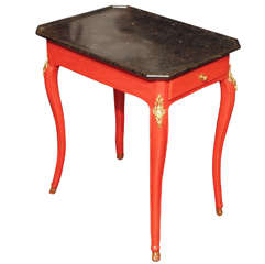 Louis XV transition Small Occasional Table with trayed marble top