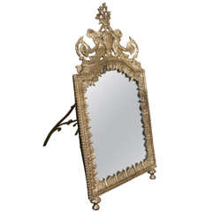 Continental Silver on Brass Standing Dressing Table Mirror
