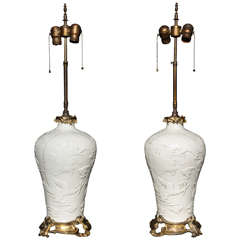 Pair of Chinese Blanc de Chine, French Louis XV Ormolu Mounted Table Lamps