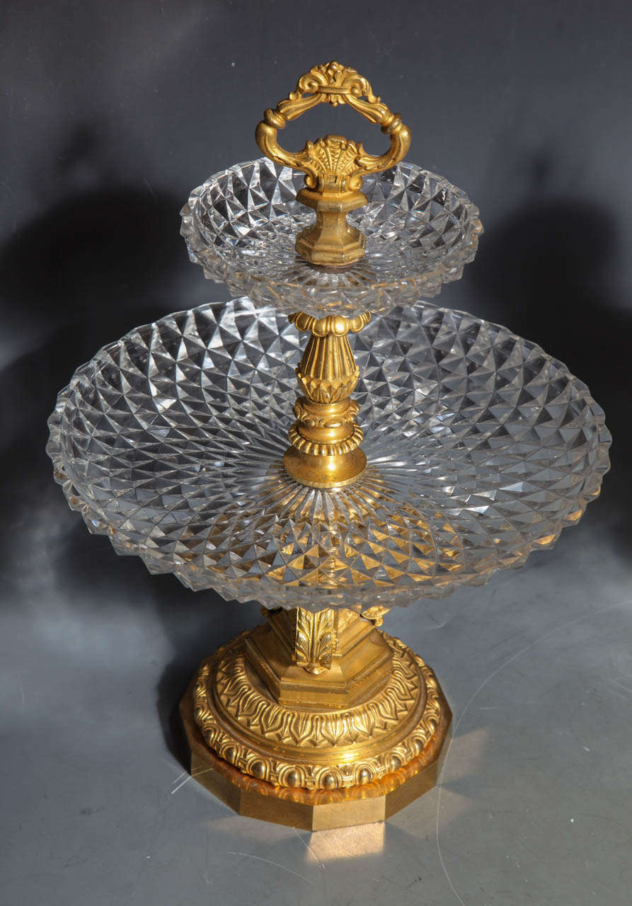 Neoclassical Pair of Antique French Two Tiered Tazzas or Centerpieces by P. Philippe Thomier For Sale