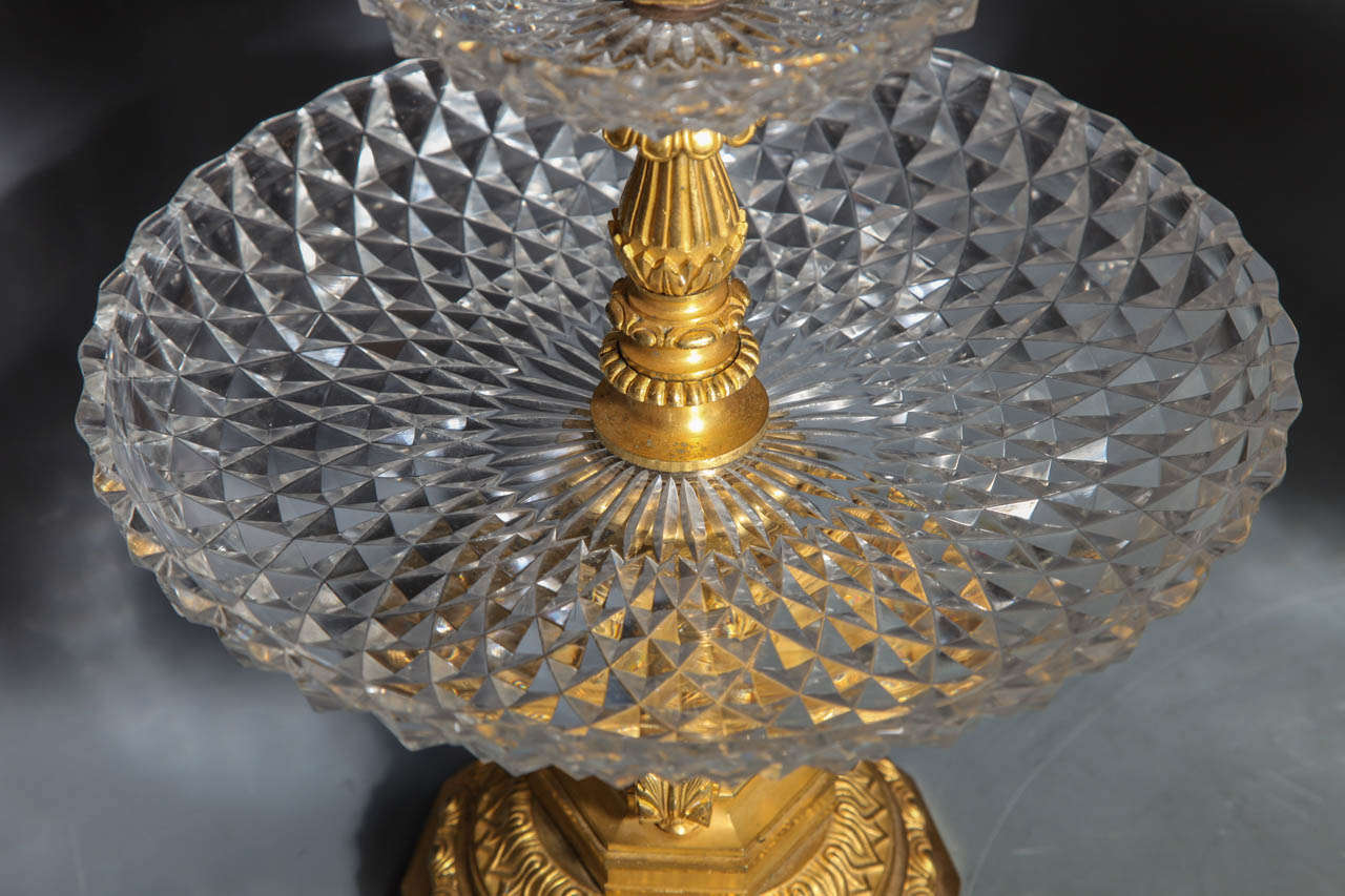 Gilt Pair of Antique French Two Tiered Tazzas or Centerpieces by P. Philippe Thomier For Sale