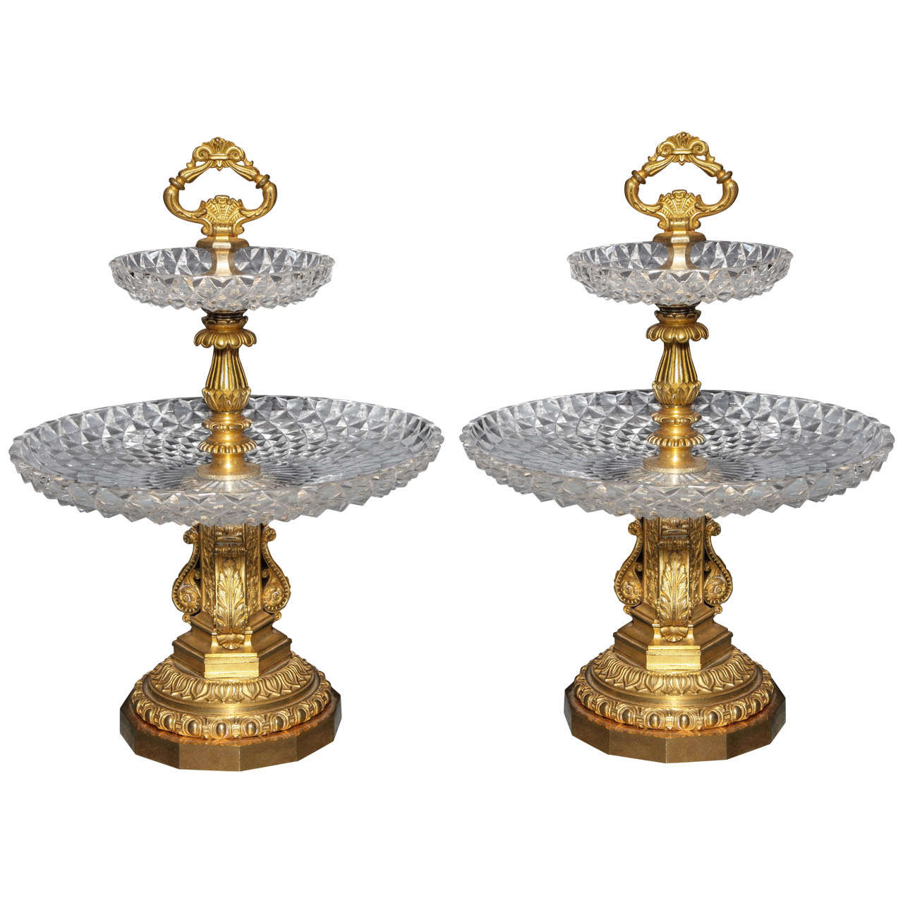 Pair of Antique French Two Tiered Tazzas or Centerpieces by P. Philippe Thomier For Sale