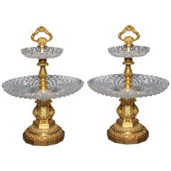 Pair of Antique French Two Tiered Tazzas or Centerpieces by P. Philippe Thomier