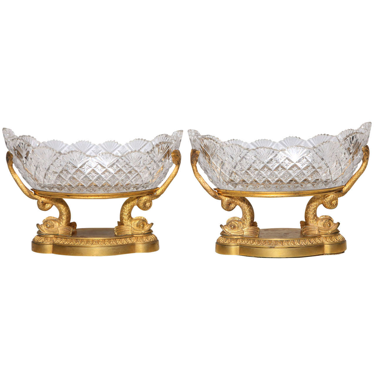 A Rare Pair of Antique Russian Crystal and Dore Bronze dolphin Centerpieces