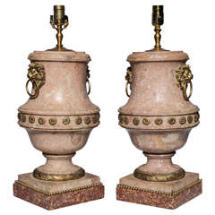 Pair of Fine Quality Italian Scagliola Urns with Ormolu Mounts as Lamps
