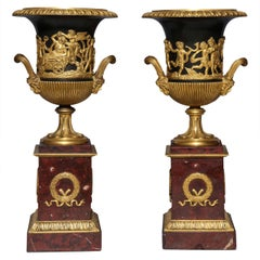 Pair of Neoclassical French Doré Bronze, Patinated Bronze and Rouge Marble Vases