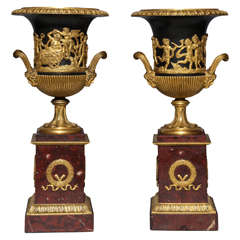 Pair of Neoclassical French Empire Period Dore Bronze, Patinated Bronze and Rouge Marble Campana Shaped Vases circa 1820