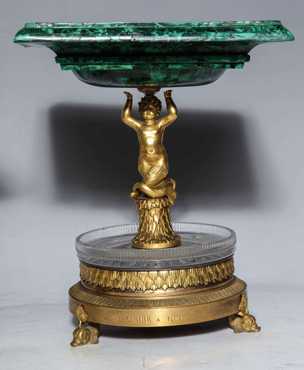 Pair of Russian Empire Malachite, French Bronze Centrepiece/Tazzas by Thomier In Excellent Condition For Sale In New York, NY