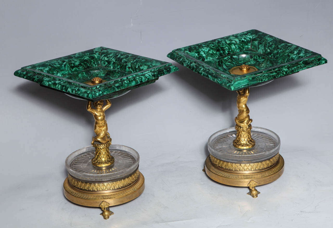 Pair of Russian Empire Malachite, French Bronze Centrepiece/Tazzas by Thomier For Sale 4