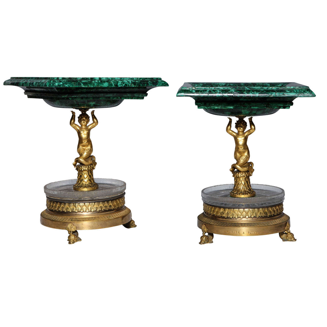 Pair of Russian Empire Malachite, French Bronze centerpiece/Tazzas by Thomier