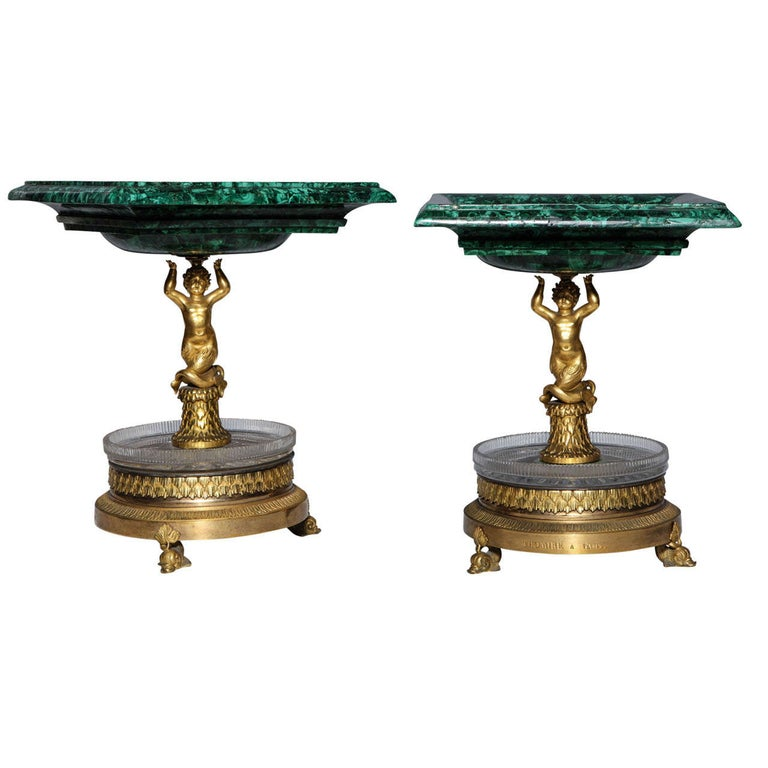 Pair of Russian Empire Malachite, French Bronze Centrepiece/Tazzas by Thomier For Sale
