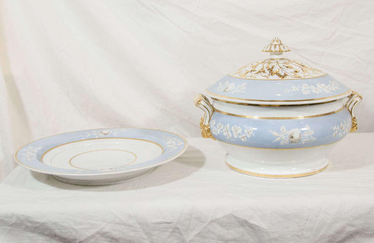 Regency Antique Porcelain Blue Worcester Tureen For Sale