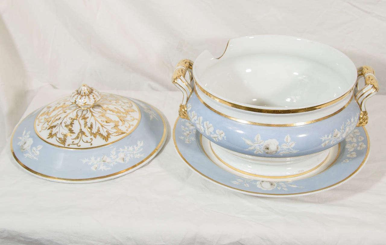 Antique Porcelain Blue Worcester Tureen For Sale 3