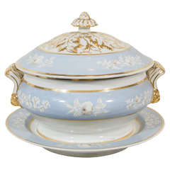 Antique Porcelain Blue Worcester Tureen