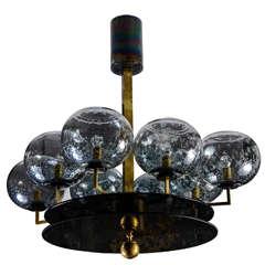 Unusual Murano Glass and Brass Chandelier