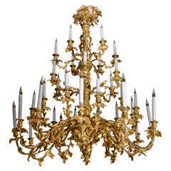 Amazing 19th Century French Bronze Chandelier of Louis XV Style