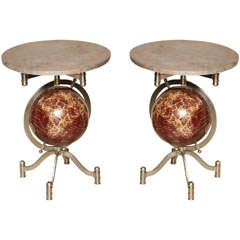 Pair of Globe Marble-Top Side Tables