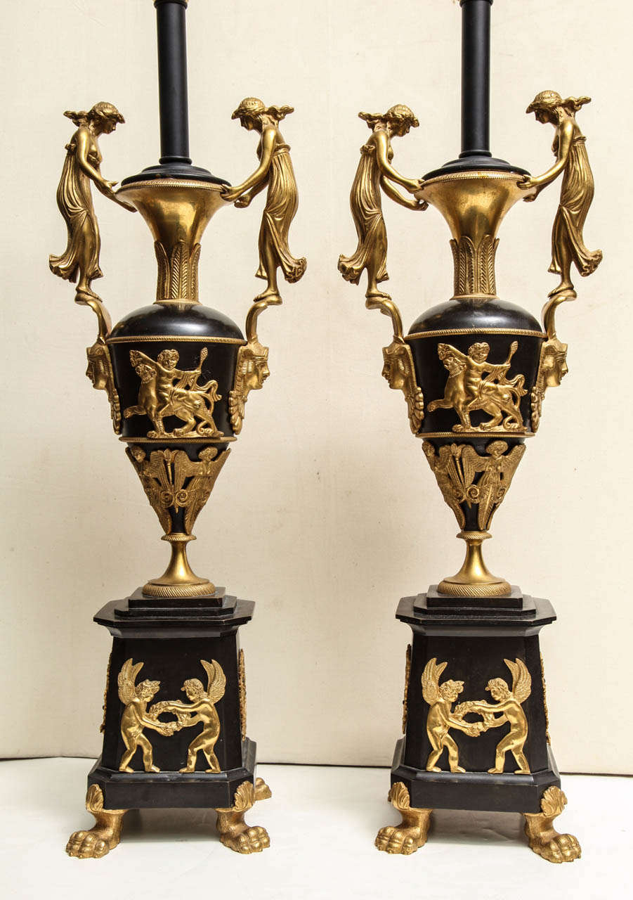 Pair of Neoclassical Russian Empire Style Figural Lamps In Good Condition For Sale In New York, NY