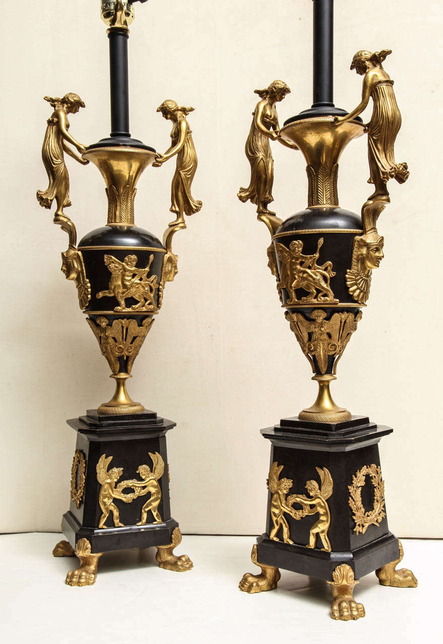 19th Century Pair of Neoclassical Russian Empire Style Figural Lamps For Sale