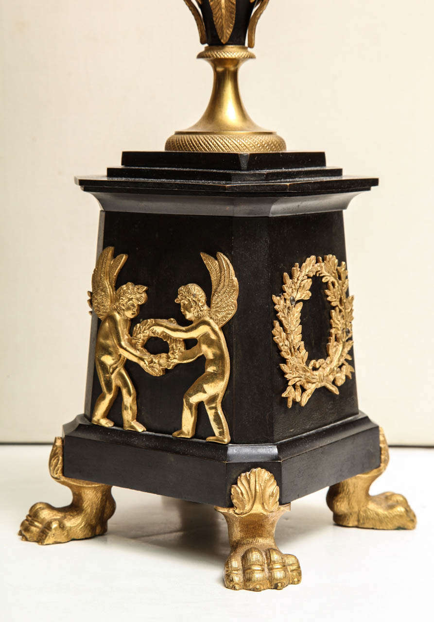 Pair of Neoclassical Russian Empire Style Figural Lamps For Sale 1