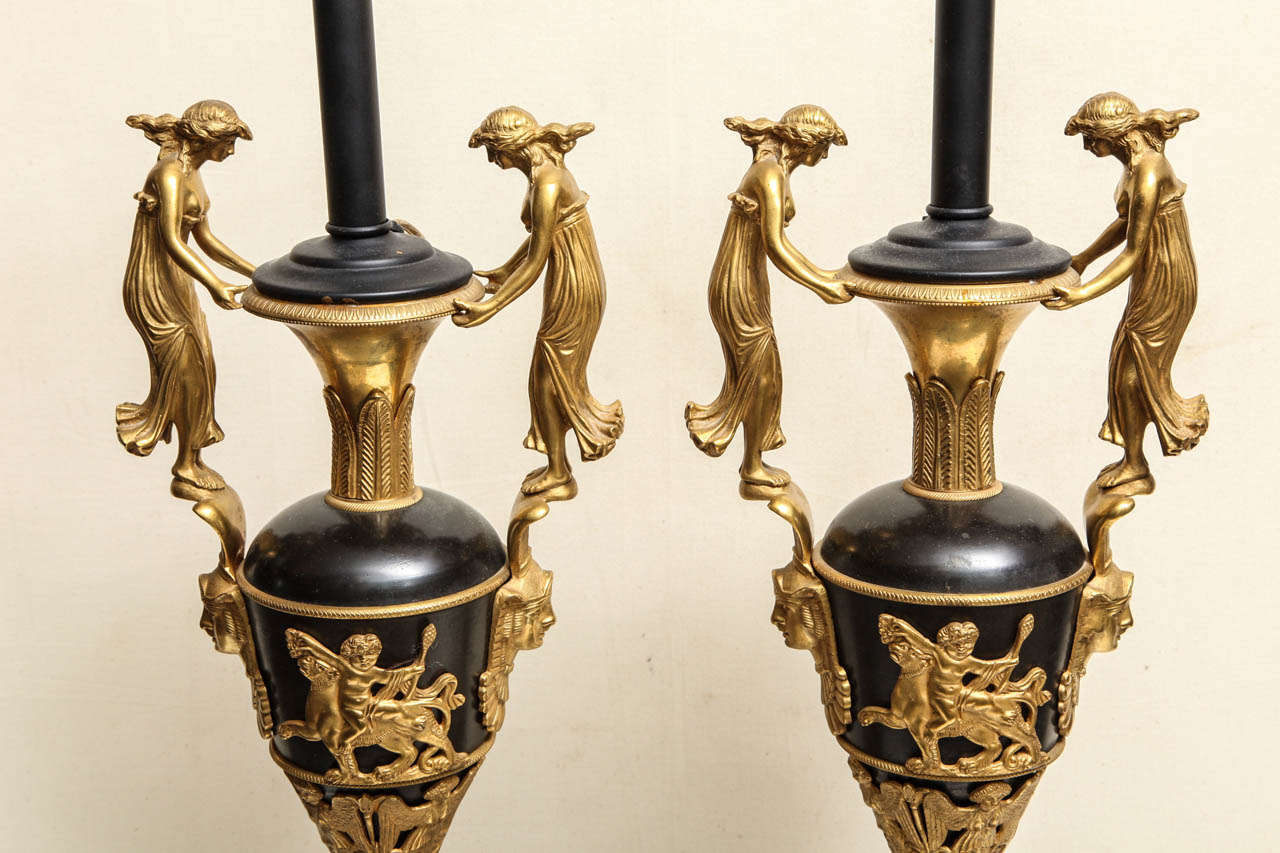 Pair of Neoclassical Russian Empire Style Figural Lamps For Sale 4