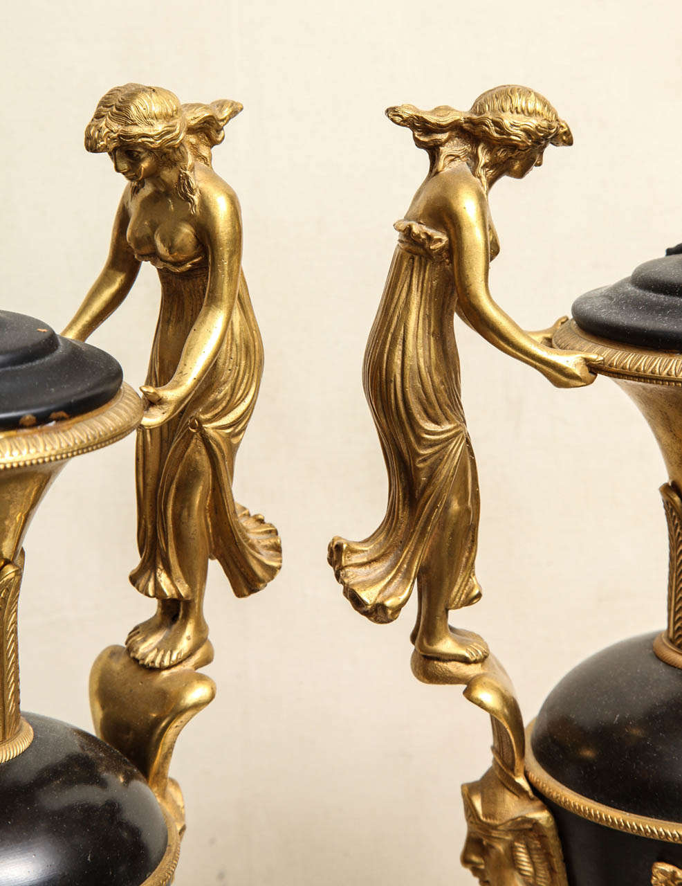 Pair of Neoclassical Russian Empire Style Figural Lamps For Sale 5