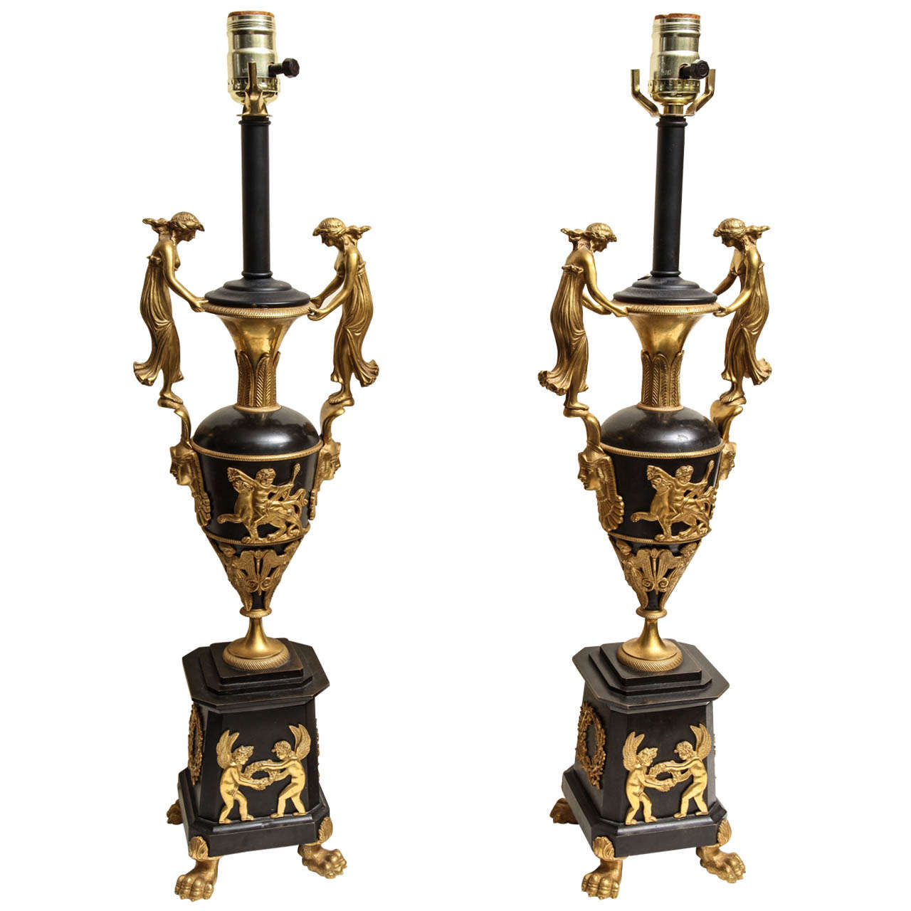 Pair of Neoclassical Russian Empire Style Figural Lamps For Sale