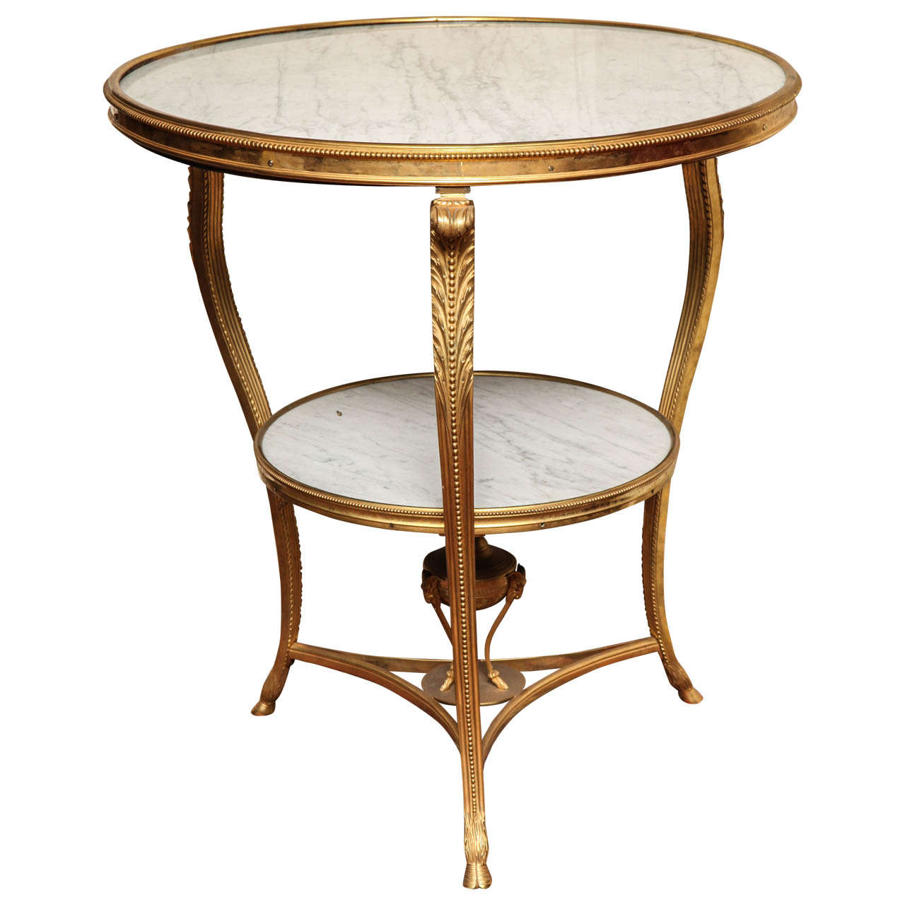 Neoclassical Louis XVI Style Circular Marble and Bronze Two-Tier Centre Table
