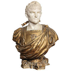 Marble and Bronze Bust of Augustus Caesar