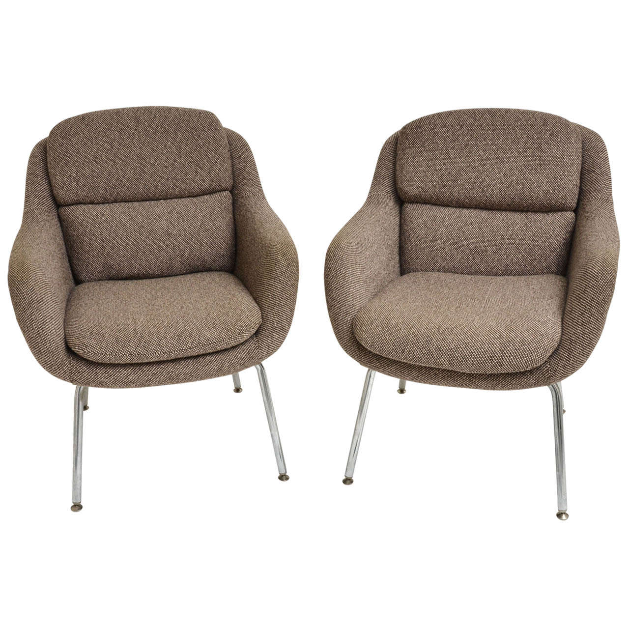 Mid-Century Modern Pair of Upholstered Armchairs