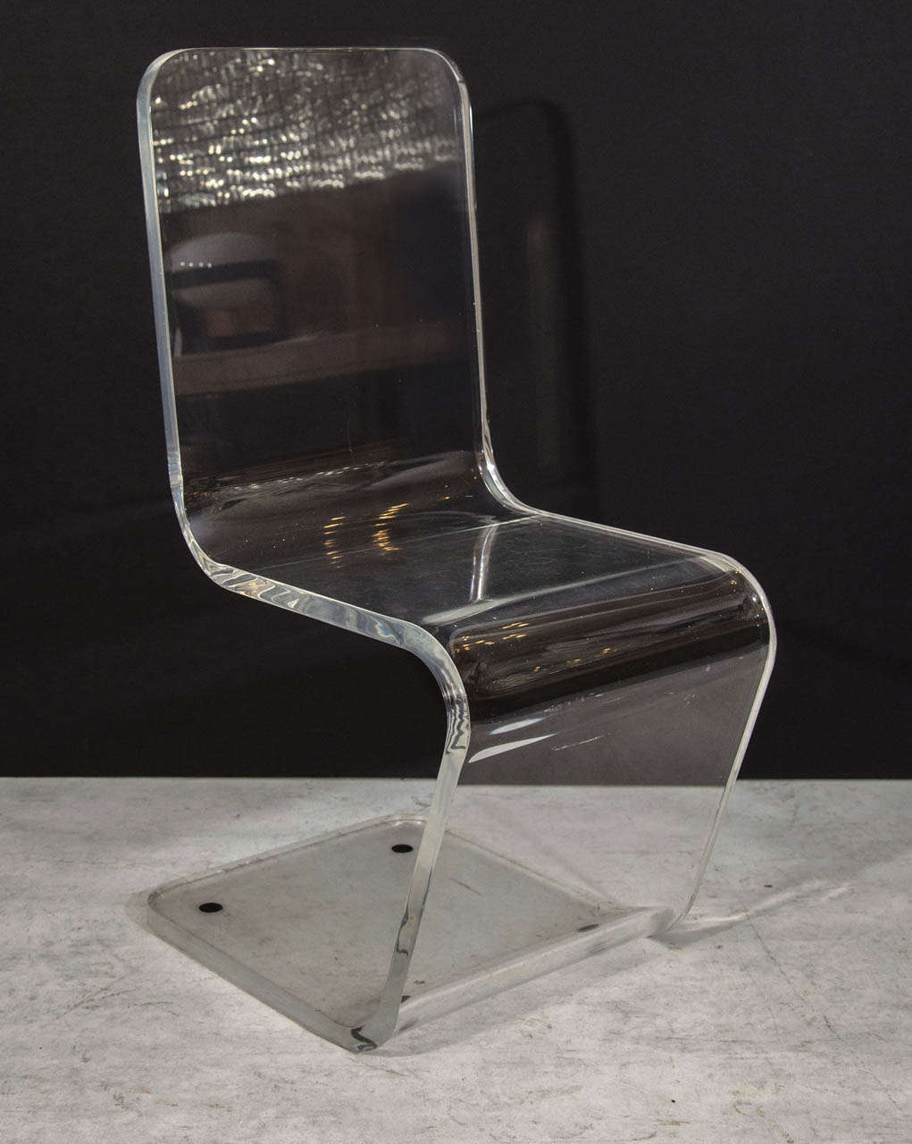 Lucite Zig-Zag Chair For Sale 1