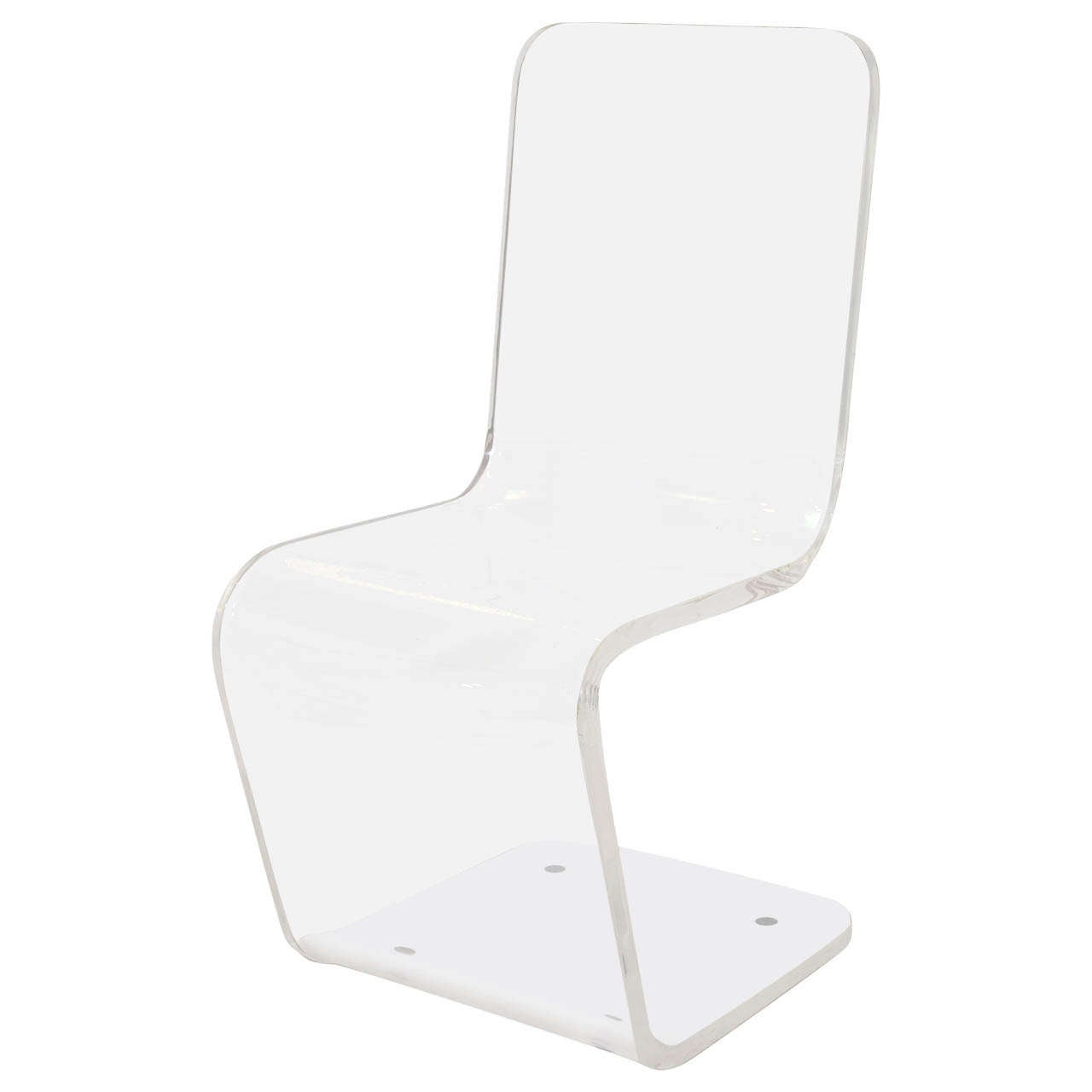 Lucite Zig-Zag Chair For Sale