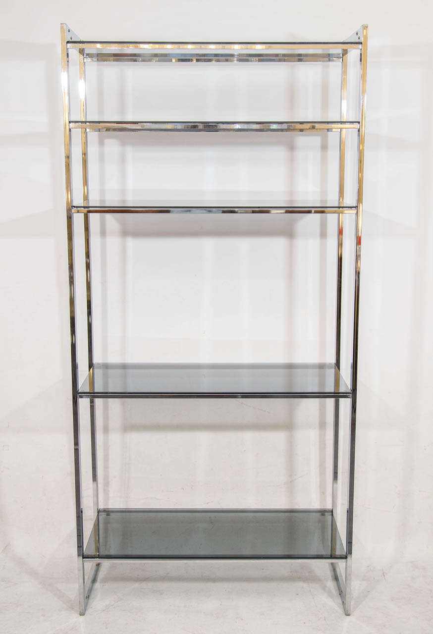 Handsome Chrome Étagère with Gray Glass Shelves at 1stdibs