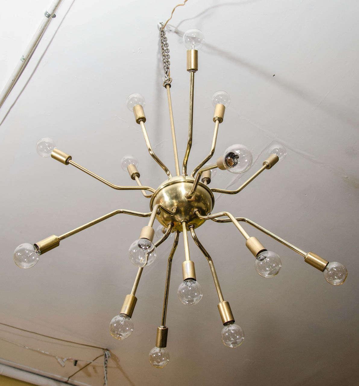 Italian Brass Spider Sputnik Chandelier Pendant By