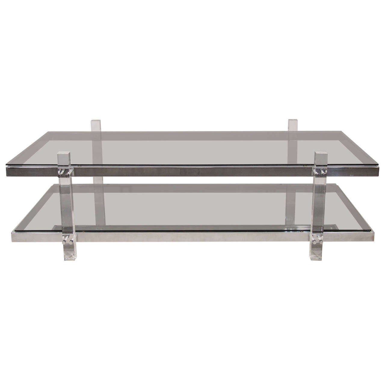 Chrome Lucite And Smoke Tinted Glass Coffee Table In The Manner Of Charles Hollis Jones At 1stdibs