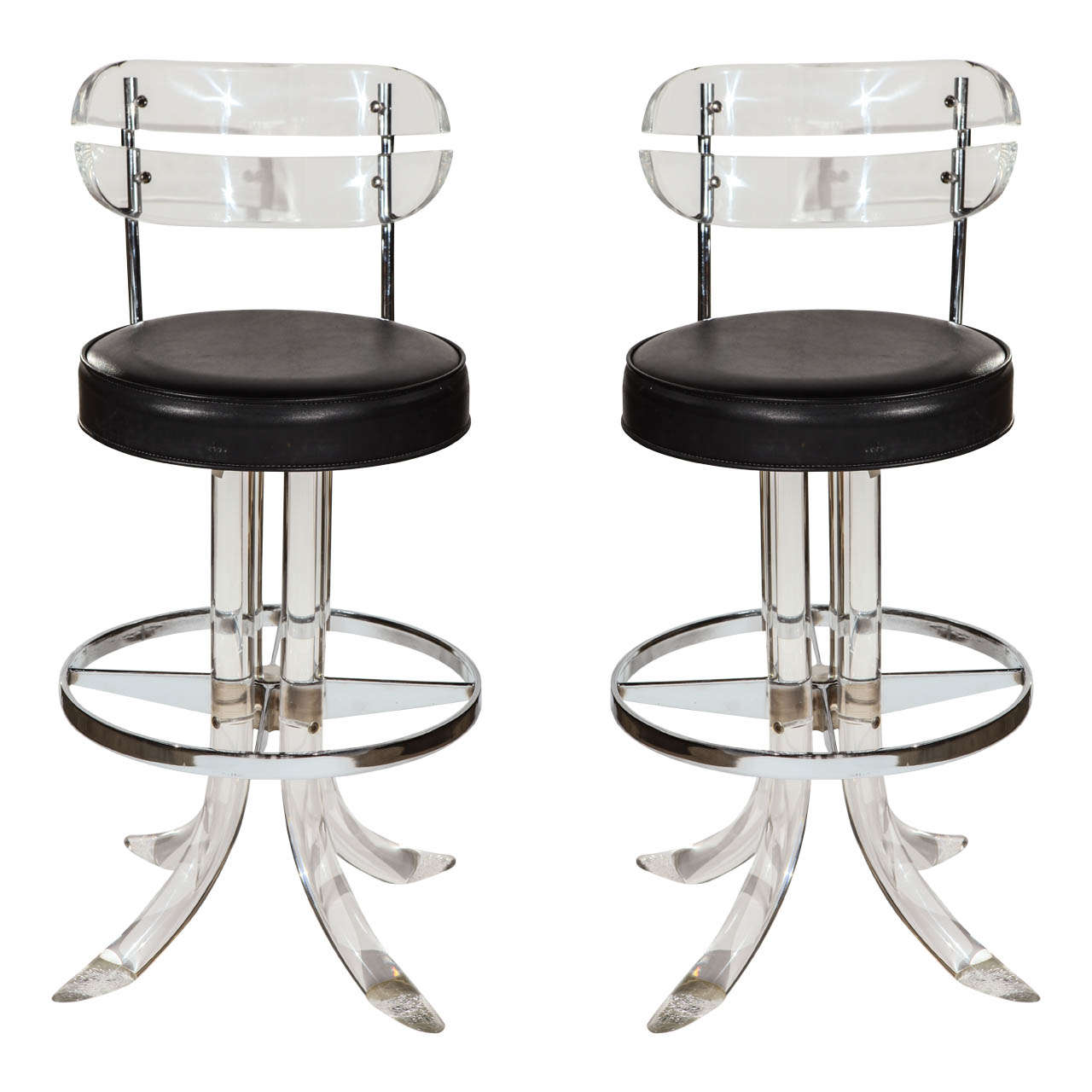 Pair of mid century lucite bar stools for sale