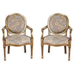 Pair of Giltwood Louis XVI Style Armchairs