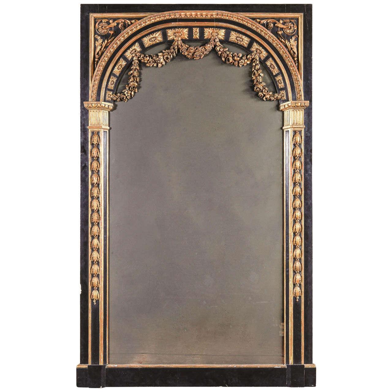 Large French Louis XVI Style Parcel Gilt Mirror