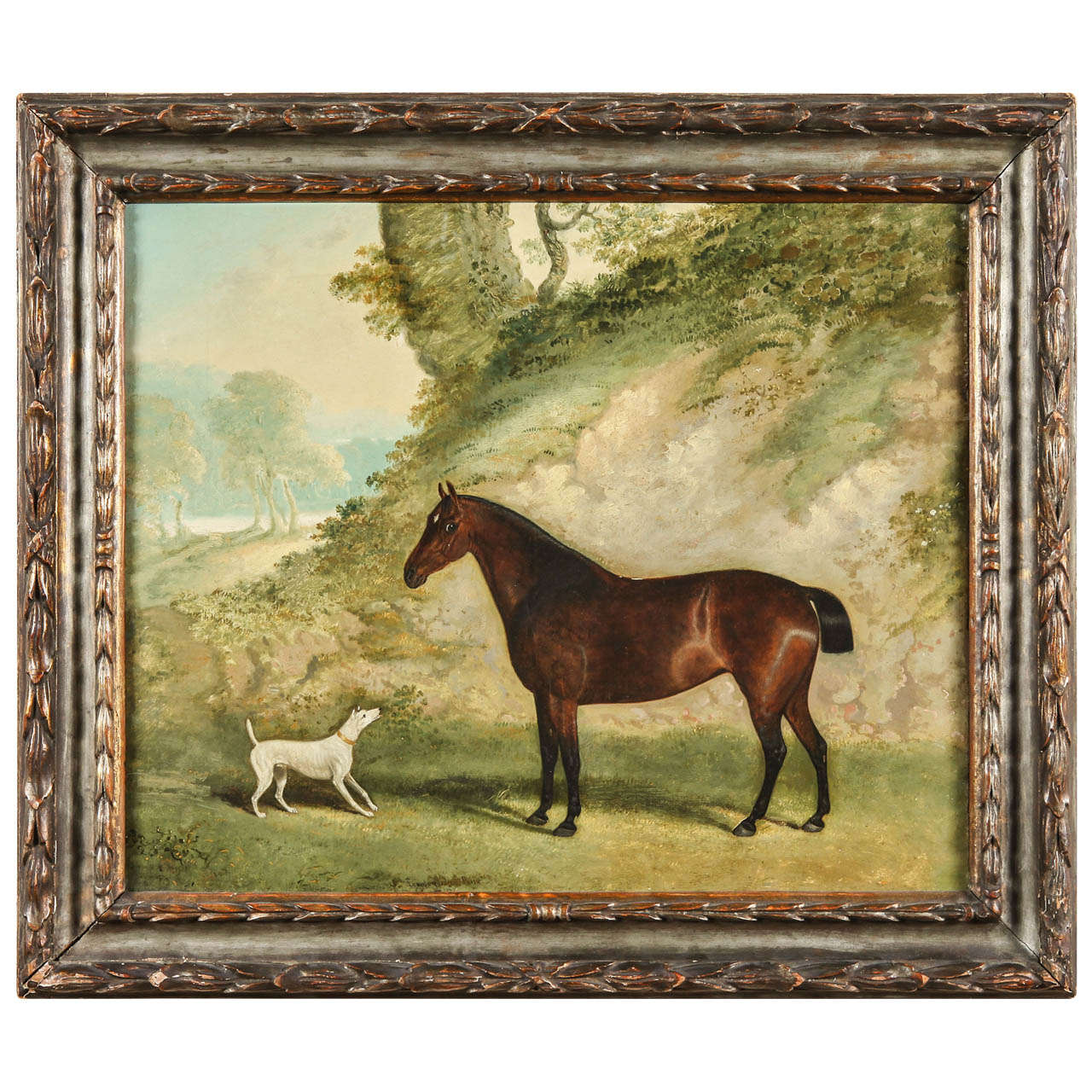 Framed English Oil Painting of Horse and Dog by John Ferneley, Sr ...