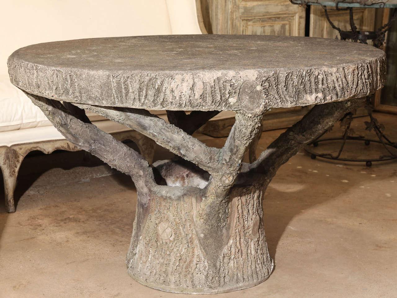 Vintage Round Faux Bois Table at 1stdibs ~ Table Bois Vintage