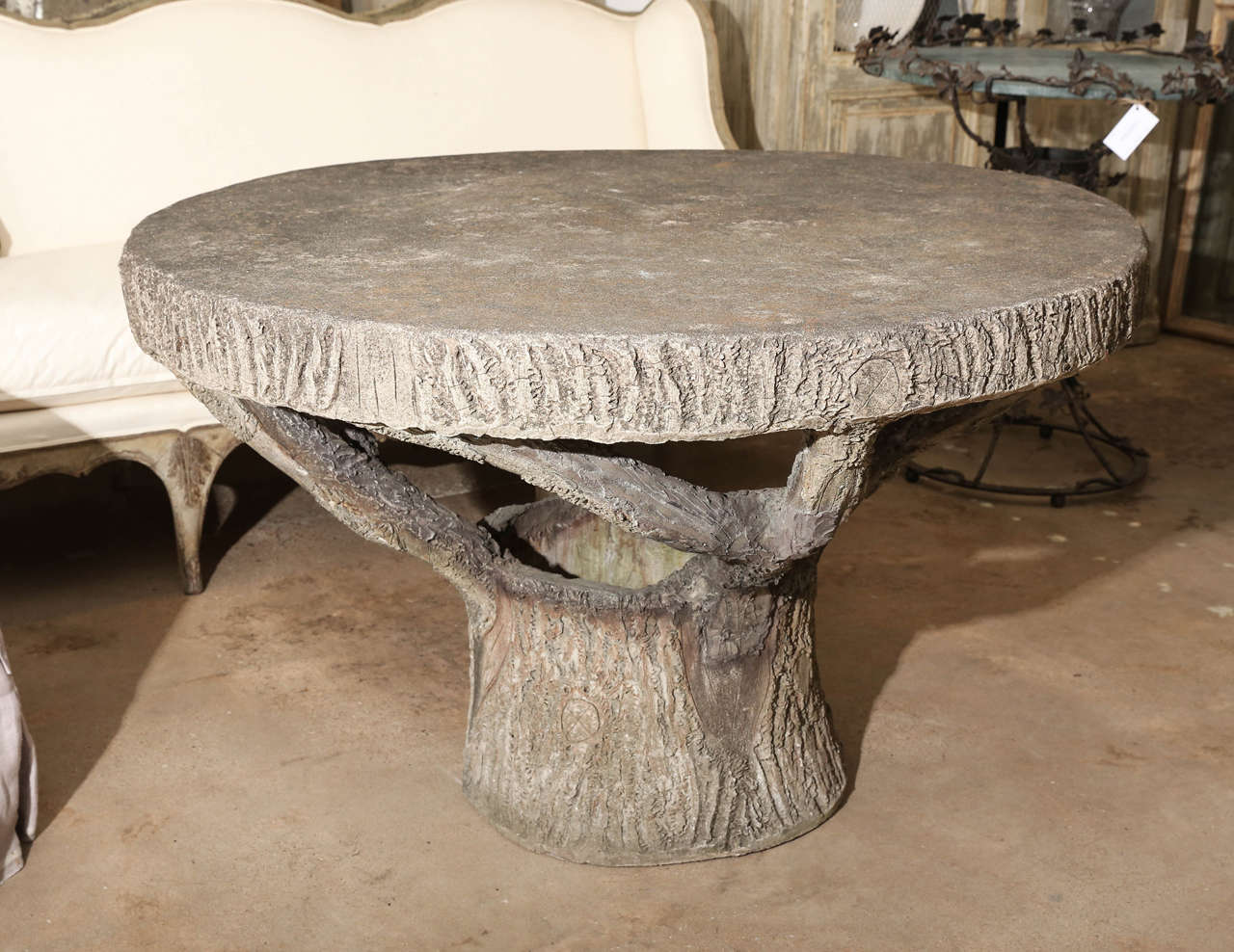 Vintage round faux bois table at 1stdibs for Outdoor furniture 1960 houston