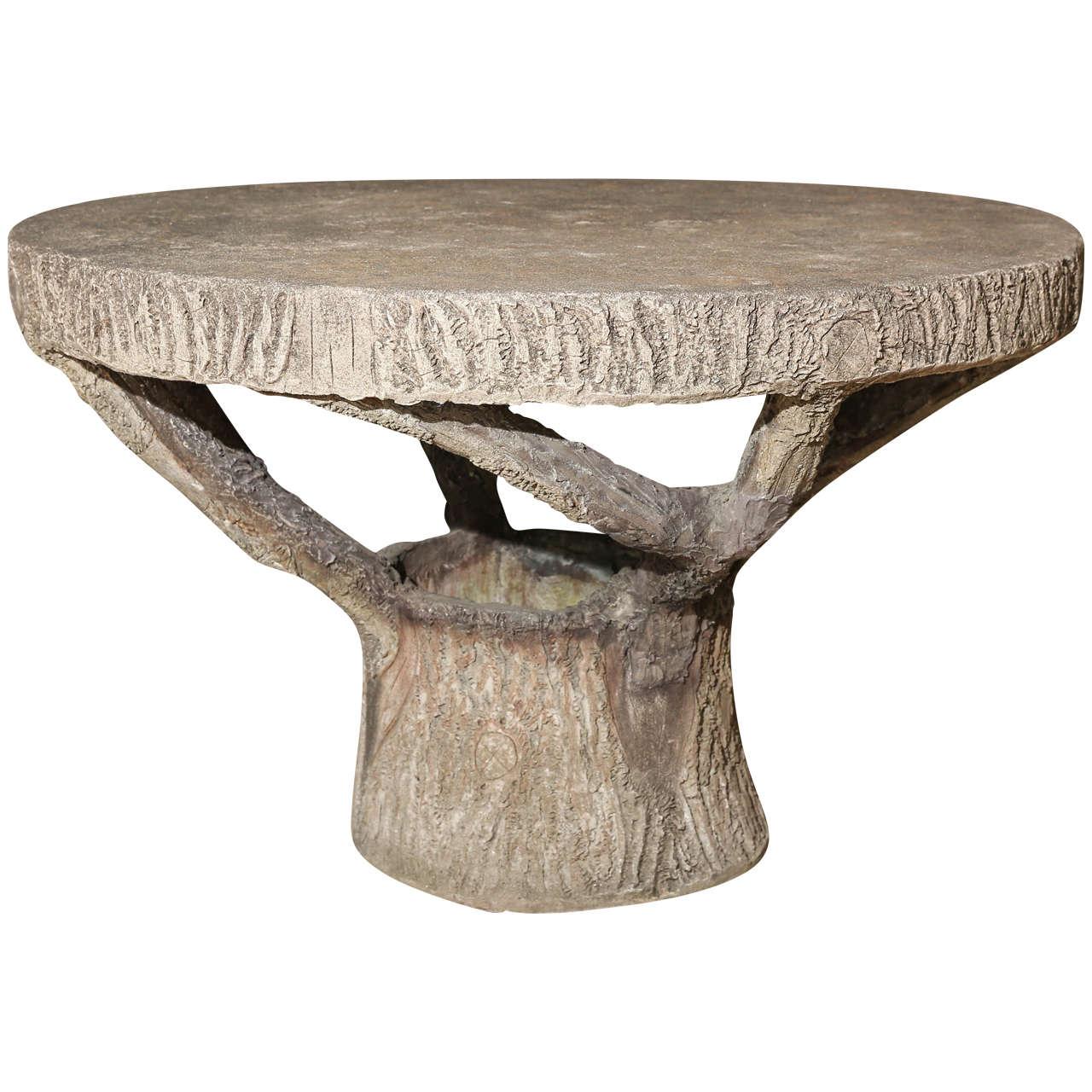 Vintage Round Faux Bois Table ~ Table Bois Vintage